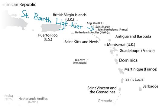 St. Barth kaart Caribisch gebied